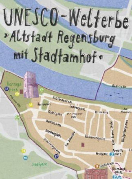 Karte Regensburg Altstadt.Stadt Regensburg Communication World Heritage Map